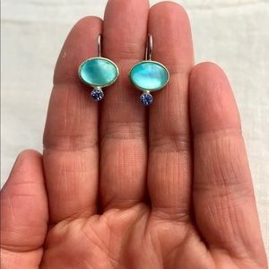 LC Turquoise Blue Glass Dangle Earrings 1990's
